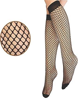 18018dc17 Ladies Girls Women Sexy Knee High Soft Nylon Fishnet Fence Net Socks  Stockings in Small Mesh - Black  Amazon.co.uk  Clothing