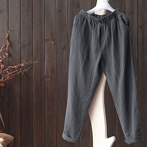 ed02160555044 wodceeke Women Plus Size Pants, Elastic Casual Relaxed Loose Fit Cotton  Linen Pants Harem Trousers Cropped Pants (M, Gray)