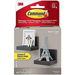 Command Display Ledges, Slate, 2-Ledges, 8-Medium Foam Strips (HOM23S-2ES)