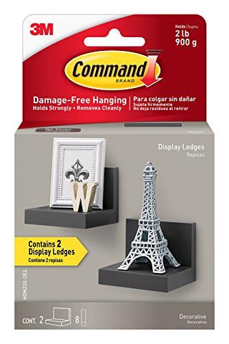 Command Display Ledges, Slate, 2-Ledges, 8-Medium Foam Strips (HOM23S-2ES)