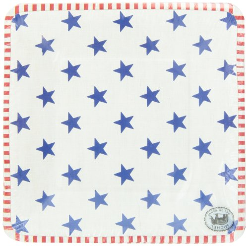 Michel Design Works Stars and Stripes Luncheon and Dessert Square Paper Plates, 8 Count