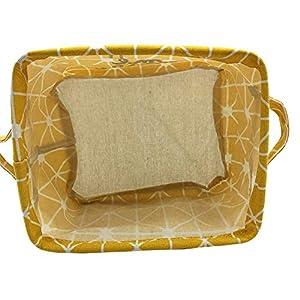 Mziart Small Foldable Canvas Storage Basket Cotton Fabric Mini Portable Storage Bin Nursery Organizer Box for Makeup Toys Shelves & Desks (Yellow)