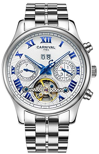 CARNIVAL Retro Roman Applique Complications Calendar Analog Automatic Mechanical Movement Watches for Men (Blue White)