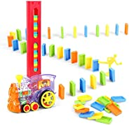 80 Pcs Domino Train Blocks Rally Electric Toy Set, Train Model with Lights and Sounds Construction and Stackin