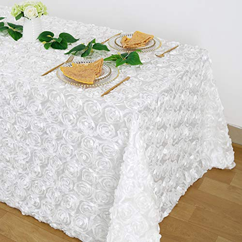 B-COOL Rosette 3D Satin Tablecloth White Wholesale Modest Table Cover for Wedding Party Birthday Event 90