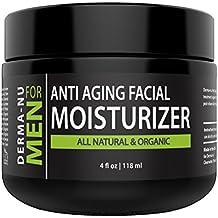 Mens Moisturizer, Aftershave Lotion & Anti Aging Cream – Prevent Post Shave Irritation + Age Defense – All Natural – Derma-nu For Men - 4oz