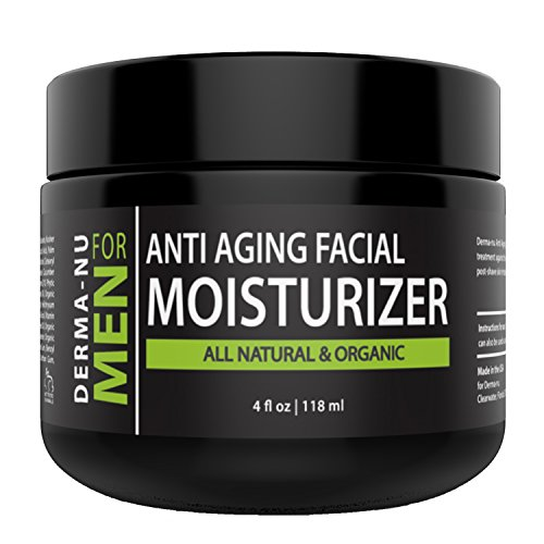 Mens Moisturizer, Aftershave Lotion & Anti Aging Cream – Prevent Post Shave Irritation + Age Defense – All Natural – Derma-nu For Men - 4oz (Cream Irritation For Skin)