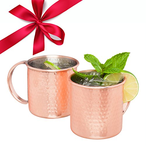 Moscow Mule Copper Mugs Set 2 Hand Hammered Copper Moscow Mules Mug Set with Cocktail Recipe E-Book