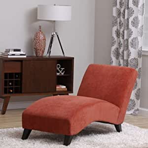 Bella orange paprika chaise lounger living - Amazon bedroom chairs and stools ...