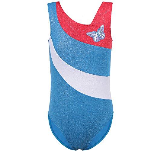 TFJH E One-piece Sparkle Leotard for Girls Gymnastics Unitard Athletic Tank Shirt Butterfly 139 Blue 12A