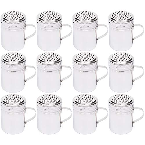 (Set of 12) 10 Oz Stainless Steel Dredge Shaker with Handle, Spice Dispenser for Cooking/Baking by Tezzorio by Tezzorio (Image #6)