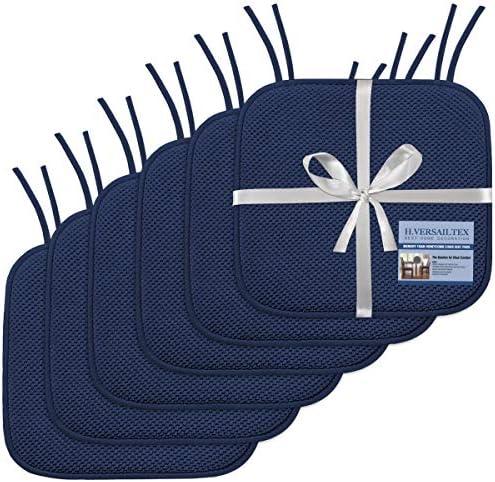 H.VERSAILTEX Premium Chair Cushions Memory Foam Chair Pads 6 Pack