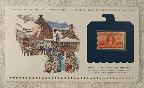 Firefighting Begins in America - Peter Stuyvesant Initiates Fire Prevention Patrols in New Amsterdam, New York - Postage Stamp (1948) & Art Panel - History of the U.S. - Postmasters of America - Ltd Edition, 1979 - 300th Anniversary Volunteer Firemen