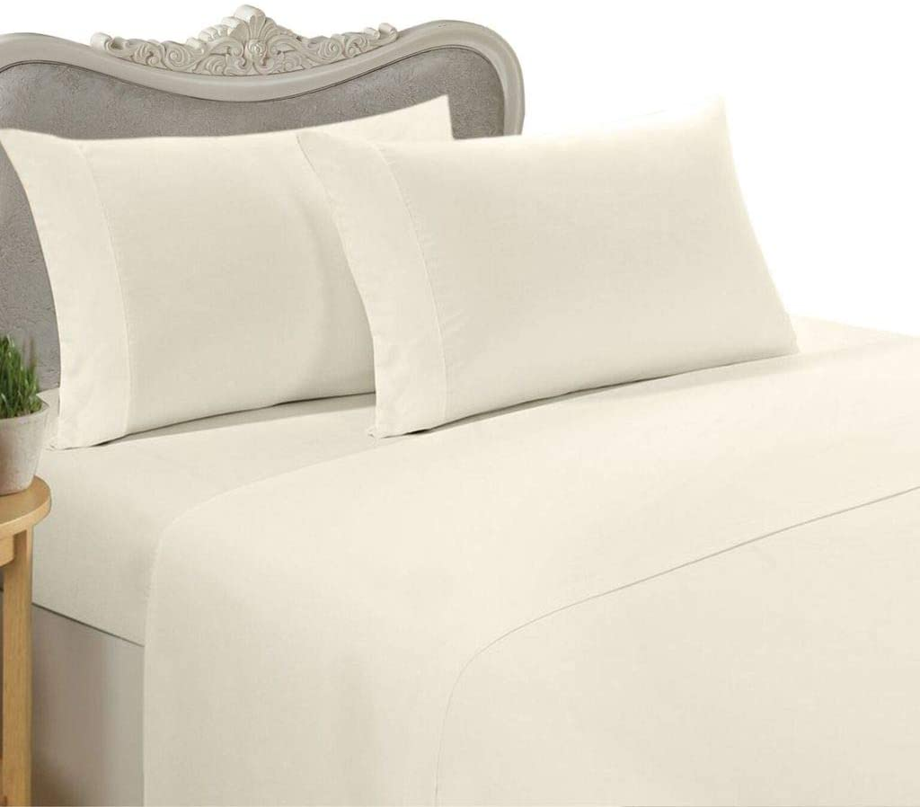 Amazon Com Luxurious Percale Sheet Set 600 Thread Count Egyptian Cotton Sheet Set 600tc King Ivory Home Kitchen