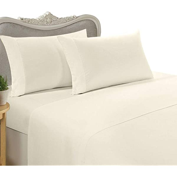 Egyptian Cotton 200 Thread Fitted Bed Sheet Cot Bed Beige Tumble Dry