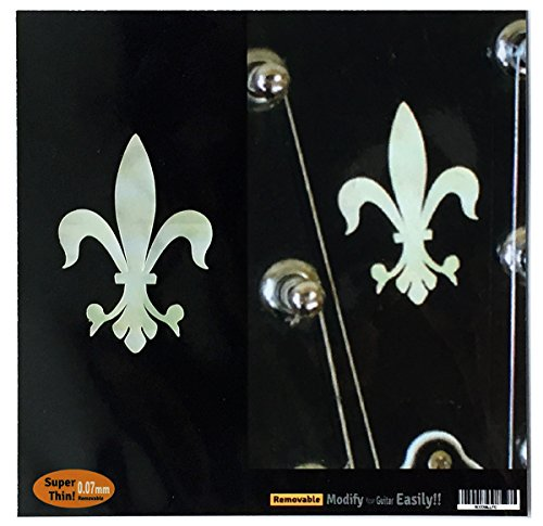 Headstock Decal (Inlay Sticker Decal Guitar Headstock In MOP Theme - 2pcs SET Fleur de Lys)