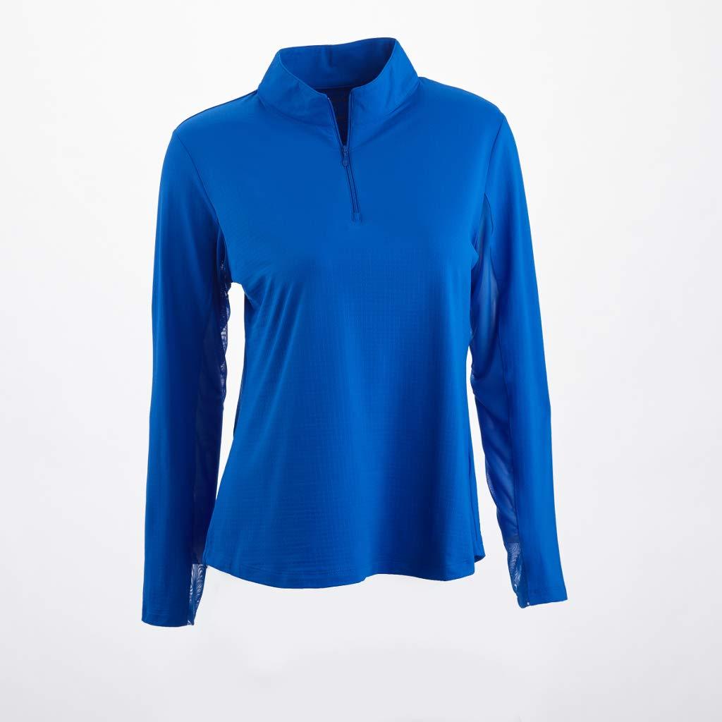 Solid Mock Neck Top - 80000 (L, Royal Blue) by IBKUL