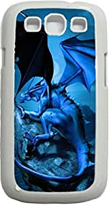 Midnight Dragon- Case for the Samsung Galaxy S3 i9300 -Soft White Rubber Case with a Swinging Open-Close Flap that Covers the screen