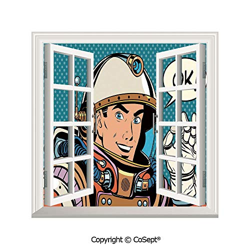SCOXIXI Window Wall Sticker,Middle Aged Sapce Man Gesturing and Saying OK Speech Bubble Space Themed Catroon,3D Window View Decal Home Decor Deco Art (25.86x22.63 inch)