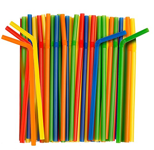 Giant Flexible Smoothie Straws [100 Pack] Assorted Colors (Jumbo Flex Straws)