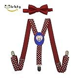 Xiacai Love Strawberry Suspender&Bow Tie Set Adjustable Clip-On Y-Suspender Boys