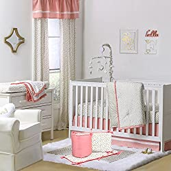 Gold Dot and Chevron 5 Piece Baby Crib Bedding for girls with Bumper with Coral Pink