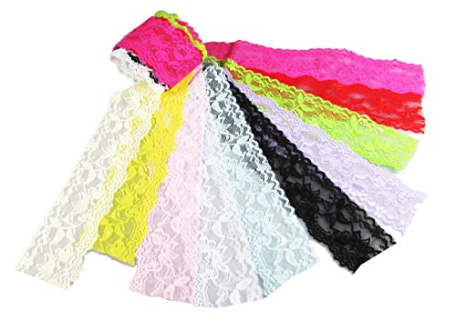 HipGirl Stretch Elastic Lace or Fold Over FOE Ribbon Trim for DIY Headbands, Hair Ties, Pony Holders (12x1yd 2
