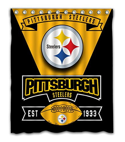 Weckim Custom Pittsburgh Football Team Waterproof Fabric Shower Curtain Colorful Design for Bathroom Decoration Size 60x72 Inches