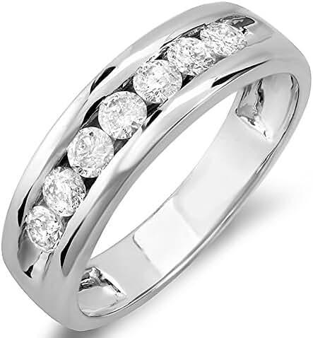 0.85 Carat (ctw) 14k White Gold Round Diamond Mens Anniversary Band Ring