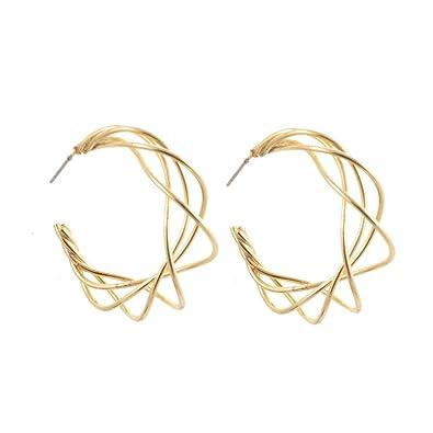 Einzigartige Kostüm Schmuck: abstrakten Draht Design Gold Kreolen ...