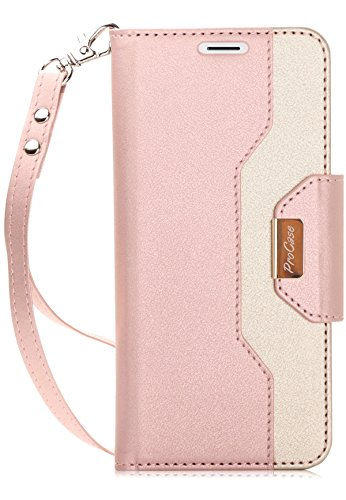 ProCase Galaxy S9 Plus Wallet Case, Flip Kickstand Case with Card Holders Mirror Wristlet, Folding Stand Protective Book Case Cover for 6.2 Inch Samsung Galaxy S9+ (2018 Release) - Pink