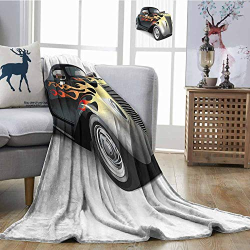 Homrkey Throw Blanket Vintage Retro 40s Fashionable Drag Car with Ombre Flames Print Artwork Sofa Chair W70 xL84 Black Silver Red and Orange ()