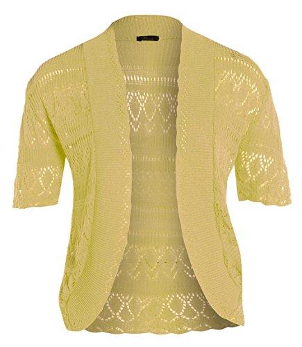 Nuevo para mujer medias de Cardigans de punto ganchillo Bolero Tops Yellow.