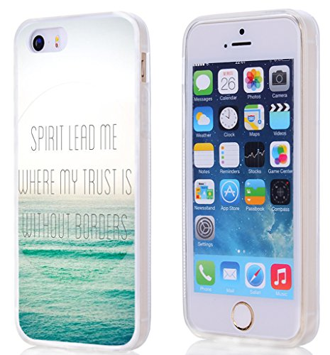 5S Case Bible Verses,Hungo Soft TPU Silicone Protective Cover Case Compatible with iPhone 5/5S/SE Christian Sayings Theme Spirit Lead Me Where My Trust is Without Borders ()
