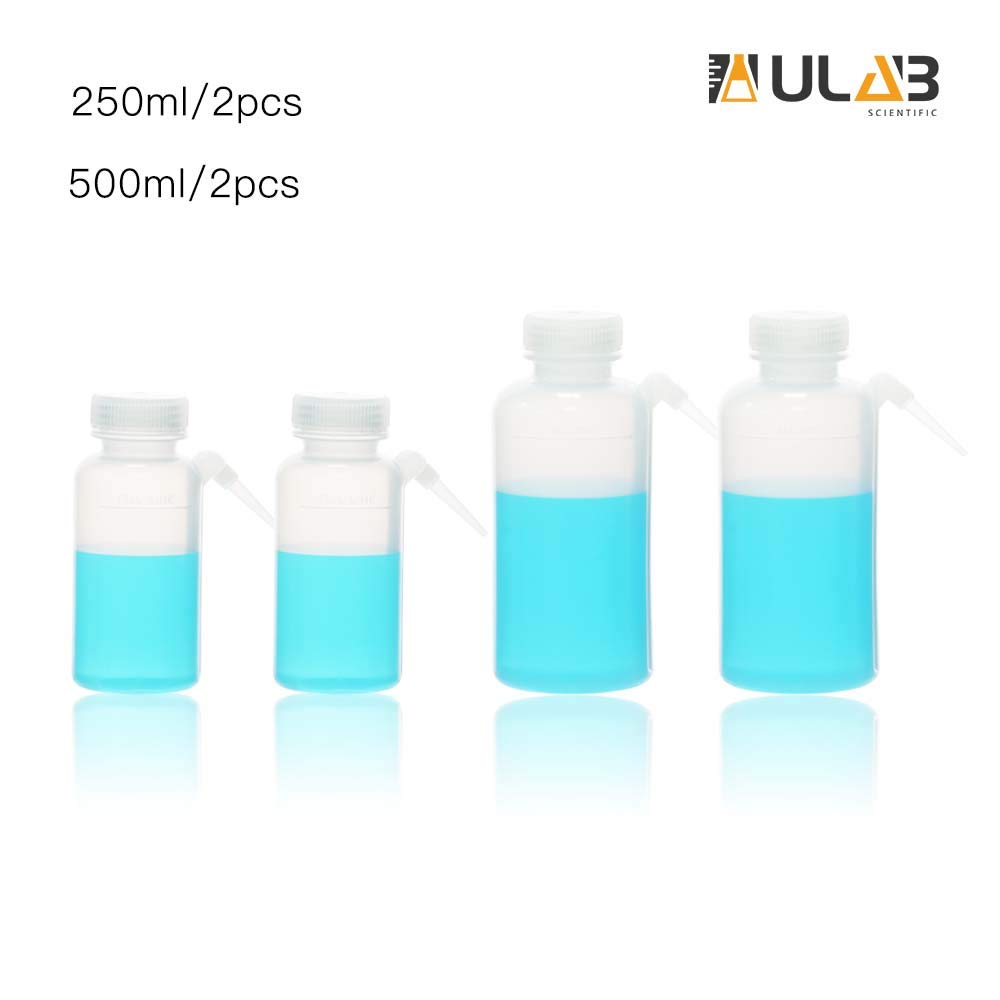 ULAB Scientific Wide Mouth Unitary Wash Bottle, 250ml 500ml 2pcs for Each Size, LDPE Bottle with PP Draw Tube, UWB1009 by ULAB