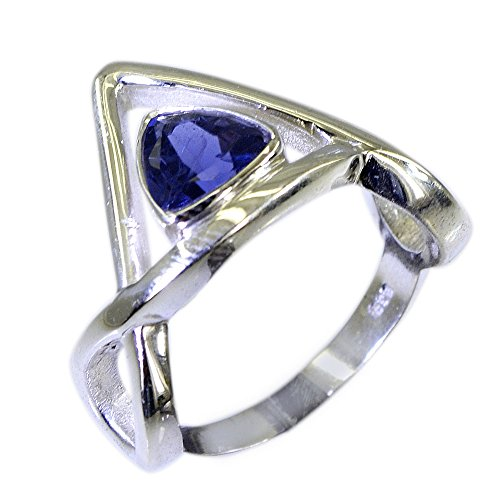 Gemsonclick Natural Iolite Elegant Ring In Silver Trillion Shape Bezel Style Fashion For Women Size (Trillion Cut Iolite Ring)