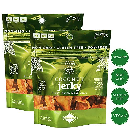 Seva Foods 2-Pack Organic Chipotle Lime Coconut Jerky (Soy-Free Vegan Strips), 3 oz Total Weight - 4 -