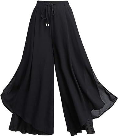 Liangzhu Pantalones Anchos Largo Verano Para Mujer Elegante Pantalones Palazos Gasa De Fiesta De Noche Negro 1 Asia 2xl Amazon Es Ropa Y Accesorios