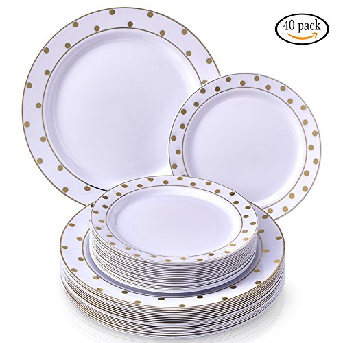 Party Disposable 40 pc Dinnerware Set | 20 Dinner Plates and 20 Salad or Dessert Plates | Heavyweight Plastic Dishes | Elegant Fine China Look | for Upscale Wedding and Dining (Dots– (Gold Side Dish)