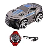 Rock-Crystal788®New Style Christmas Gift Rechargeable Voice Control Car Voice Command by Smart Watch Creative Voice-activated Remote Control RC Car for Children(Gray)
