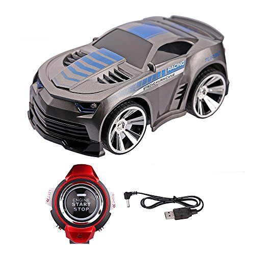 Rock-Crystal788 New Style Christmas Gift Rechargeable Voice Control Car Voice Command by Smart Watch Creative Voice-activated Remote Control RC Car for Children(Gray)