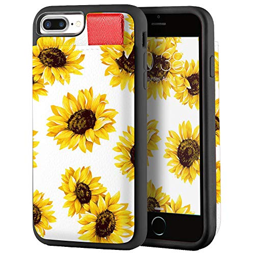 iPhone 8 Plus Case, iPhone 7 Plus Card Holder Case, LAMEEKU Floral Flower Sunflower Pattern Design Case with Credit Card Slot Leather Protective Cover Compatible for iPhone 8 Plus/iPhone 7 Plus