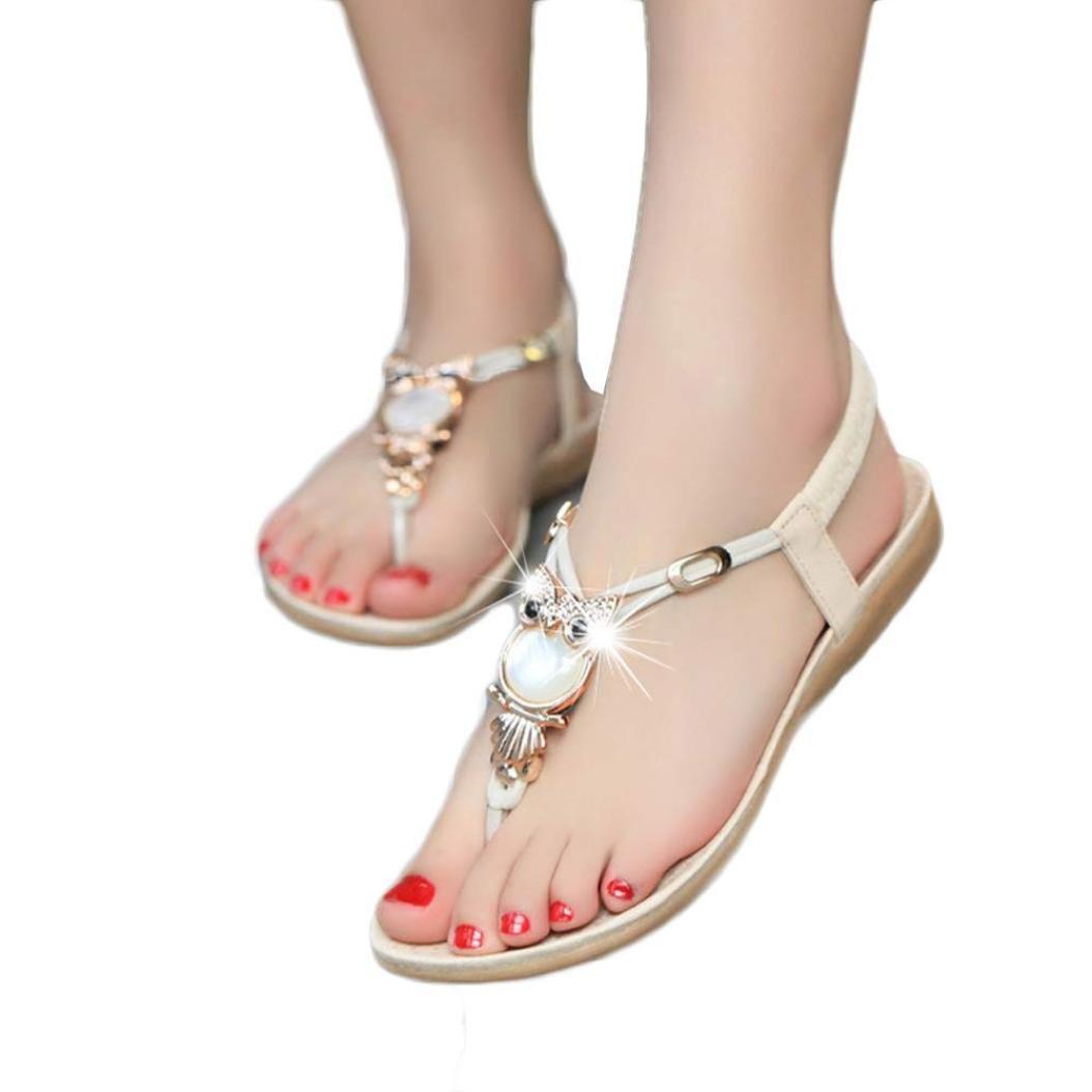 Sannysis Damen Sandalen,Rhinestone -Eulen Suuml;szlig;e Klippzehe Strand-Schuhe  40|Beige