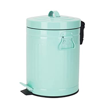 Bathroom Trash Can with Lid, Small Mint Green Wastebasket for Bathroom Bedroom Home, Retro Step Garbage Can with Soft Close, Vintage Office Trash Can, 5 Liter/ 1.3 Gallon, Glossy Mint Green Turquoise