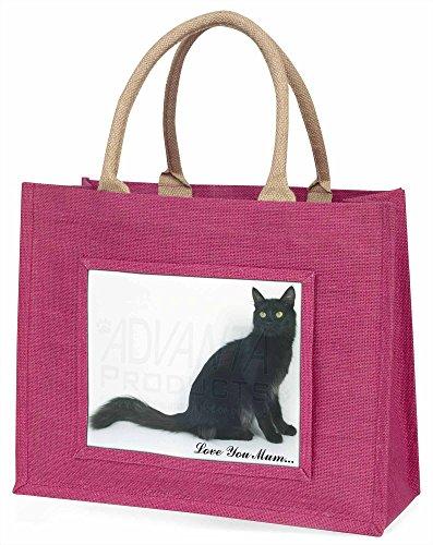 Advanta ac-115lymblp schwarz Katze, Love You Mum Große Einkaufstasche Weihnachten Geschenk Idee, Jute, Rosa, 42x 34,5x 2cm