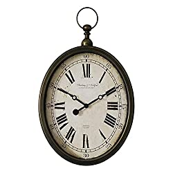Wall Clock TOYM US 20 Inch American Village Retro Do Old Imitation Iron Oval Living Room Bedroom Quartz Clock