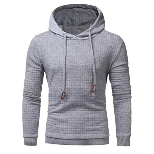 Men's Hoodie,Laimeng 2017 New Men Cotton Hooded Long Sleeve Sweatshirt Solid Jacket Coat Outwear (XL, Dark Gray, 300)