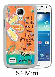Samsung Galaxy S4 Mini Case ,Fashion And Unique Designed Samsung Galaxy S4 Mini Case With Bible Verse ,Vintage floral. For I know the plans I have for you. Plans to give you hope and a future. Jeremiah 29 11 White Hight Quality Cover