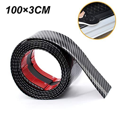 (ALAVENTE Universal Car Door Sill Protector 5D 3D Carbon Fiber Rubber Sill Guards Stickers Anti-Kick Scratch Door Entry Kick Step Sticker Auto Doors (100×3CM))