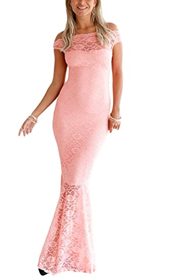 13a4f8a58e635 Ouregrace Womens Sexy Off Shoulder Bardot Lace Evening Gown Fishtail Maxi  Dress